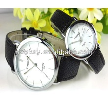2014 wholesale fashion leather watch set made in china with double color leather band