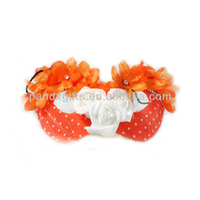 Orange with white feather mask orange flower white roses gauze mask