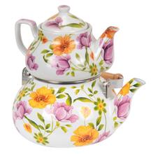 2pcs Colored Enamel Kettle Set 2 piece Ceramic Teapot Set Stocked Stainless Aluminum Handle Wooden Grip Tea Kettle