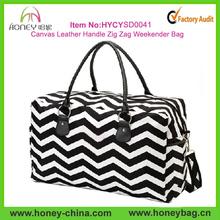 2014 Fashion Leather Handle Cotton Canvas Black Chevron Duffel Bags