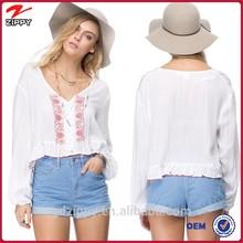 Ladies fashion lace crop tops/ lace woman blouse design 2015