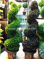 de plástico baratos en maceta de hoja perenne en espiral árbol topiary artificial de las plantas y los árboles