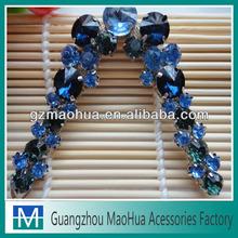 2014 hot selling Elegant blue acrylic stone shoe buckles rhinestone shoe buckles flip flop clips