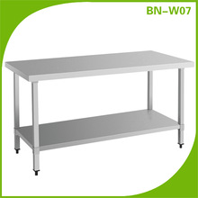 BN-W07 Catering Equipment stainless steel top table/stainless steel kitchen work tables/work table top