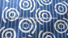 KTCF-17 Circle Shape Hand Block Dabu Printed Fabric Pure Cotton Fabric From Jaipur Multiple Use Indigo Blue Cotton Fabrics
