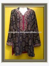 Short Length Printed Cotton Embroidered Kurti