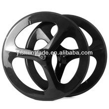 2014 YISHUNBIKE strong& stiff OEM 56mm road tri spoke carbon wheels 700c clincher road bike wheelsets