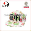 Fashion printed 3D black embroidery snapback hat wholesale