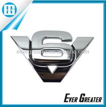 custom made adhesive badges lettering stickers shiny V6 car chrome badges 3m metal badge plastic emblems adhesive car emblem