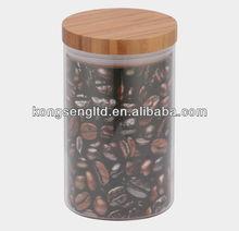 hermética da vasilha de vidro com tampa de bambu