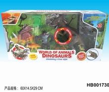 With sound ,battery ,lights,dinosaur ,dinosaur set