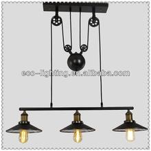 Antique industrial loft pulley three bulbs adjustable Pendant lamp DD0401-3