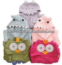 100% cotton baby terry bathrobe,fashion comfortable cute hoodie/hooed baby robe,hoodie towel