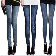 Female Skinny Legging Print Faux Denim Jeans 9008