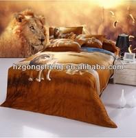 100% cotton 3D active dye bed cover set lion design