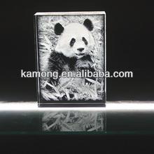 Transparent 2d laser Panda crystal crafts for wedding gifts