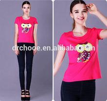 Cheap in bulk plain for 100% cotton female T shirt for sale