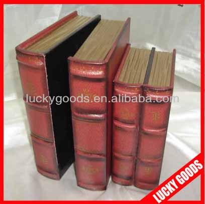 venda hot custom impresso antigo livro de madeira caixas