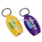 PVC LED keychains, reflective keychain with light, promotion plastic key rings