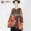 2014 bahar moda şık klasik baskı uzun kollu kadın kazak kazak