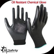 SRSafety 13 Gauge knitted nylon coated black nitrile gloves/working nitrile glove/safety glove