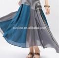 2014 Hot sale maxi algodão plissado azul das senhoras saia longa