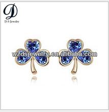 925 Sterling Silver Fashion Diamond Clover dangler