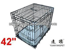 "42"" Deluxe Dog Puppy Pet Cage Carrier Crate In black with bedding"