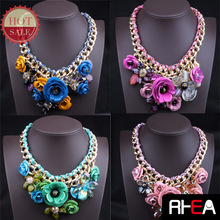 2015 Fashion statement design handmade flowers necklace jewelry