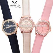 Elegant genuine leather watch tone crystal design jewelry watch