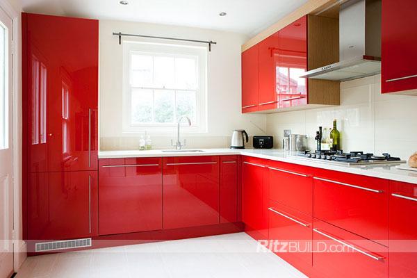 rojo moderno alto brillo gabinete de cocina del gabinete de cocina