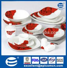 color box packing super white porcelain 50pcs square dinner ware set for Egypt home market