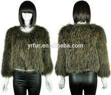 Yr-583 di alta qualità vera pelliccia di coniglio lavorato a maglia cappotto/marchio di abbigliamento di lusso/oem