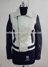 women leather sleeve denim jacket