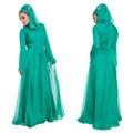 Simples moda manga longa multi- camadas de chiffon cor verde vestidos de noite para as mulheres muçulmanas