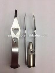 YS1031 Yongsun 2014 Eyebrow LED lighted stainless steel Tweezers with beauty shape