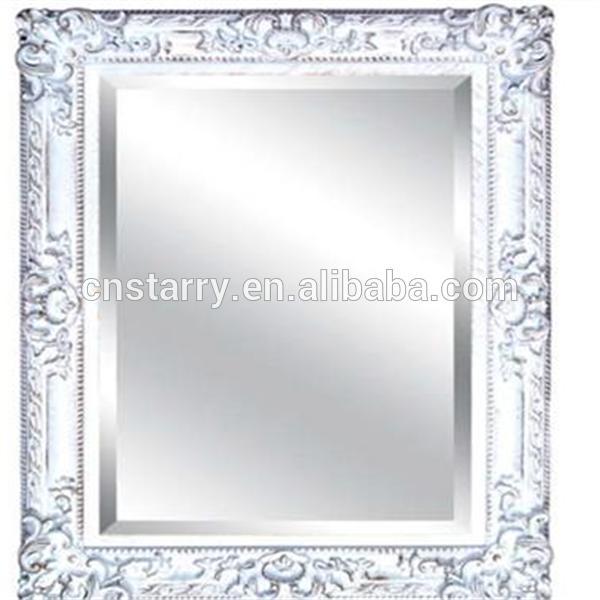 Belle et blanc bois argent miroir avec cadre pour for Miroir cadre blanc