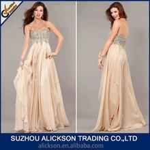 Costom Made Elegant Beading Sweetheart Floor Length A line Chiffon 2014 Prom Dresses