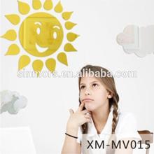 Fashion adhesive decor wall mirror sticker/acrylic bathroom mirror/Sun smiling face mirror wall sticker