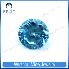 Brilliant round aquamarine cubic zirconia gemstone for jewelry