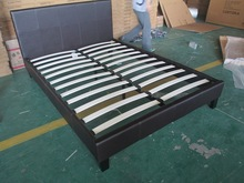 modern double size brown leather bed frame