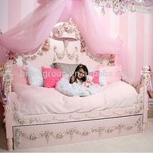 Niños de madera tallando los niños de lujo daybed con cama corona, princesa rosa con rosas antiguo daybed - BF07-70200