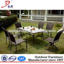 Elegant garden marble table rattan wicker dining set