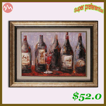 Super Preferential wine glass oil painting with Frame