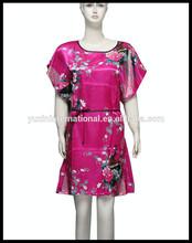 Hot pink women's sleepwear robes long silk nightgown/Bathrobe SL069