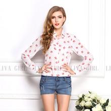 DB107# Women chiffon printed shirt pocket long sleeve cheap blouse wholesale
