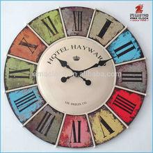 2014 New Design Round Shape Metal/Plastic Wall Clock Retro/Vintage Style Wood-like Luxury Wall Clock.
