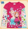 (F5100Y) fuchsia 18M-6Y NOVA wholesale girls frozen t shirts Elsa Anna printing new style girls shirts