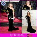 e771 celebrity eine schulter Ärmel sicke kurzen zug schwarze lange Ärmel samt abend kleider