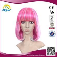 2015 High temperature fiber kanekalon synthetic cheap colorful party wigs